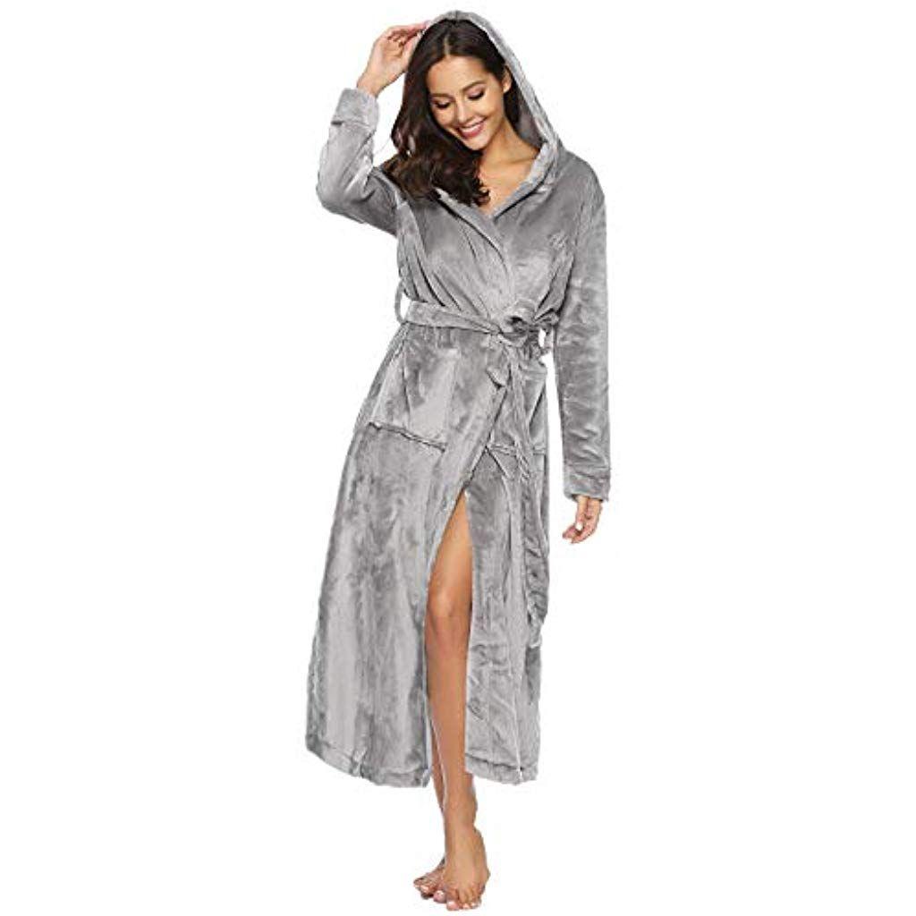 Aibrou Peignoir Femme Velours Robe de Chambre Polaire Chaud Long ...