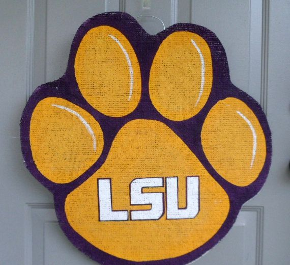 Lsu Tiger Paw Burlap Door And Wall Hanger By