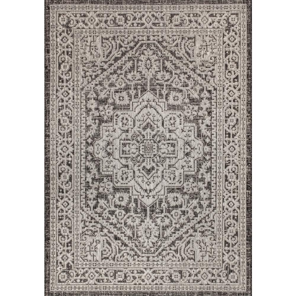 Jonathan Y Sinjuri Medallion Gray Black 3 Ft 11 In X 6 Ft Textured Weave Indoor Outdoor Area Rug Smb101d 4 The Home Depot Area Rugs Rugs Beige Area Rugs