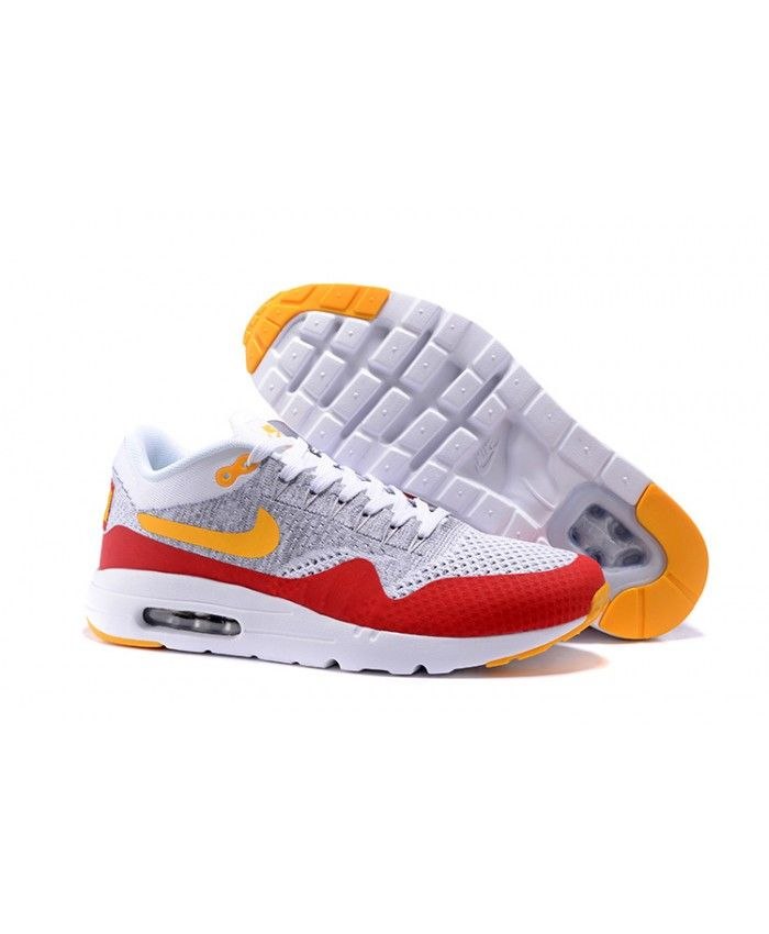 80e2826ff63 Homme Nike Air Max 1 Ultra Flyknit Gris Rouge Orange Blanc Chaussures