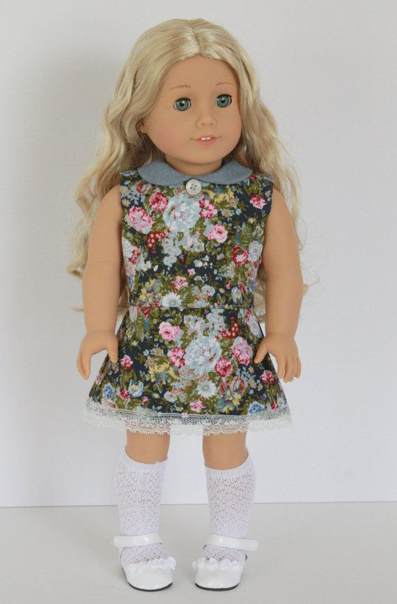 American Girl Doll Clothes - Floral and Lace Sleeveless DRESS