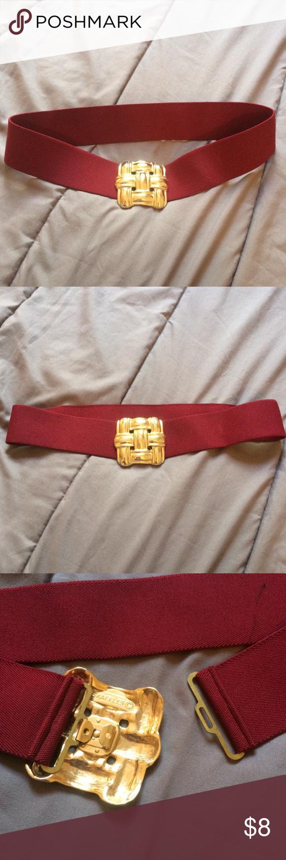 Vintage gold knot red belt skaffles red belt dark red and bald
