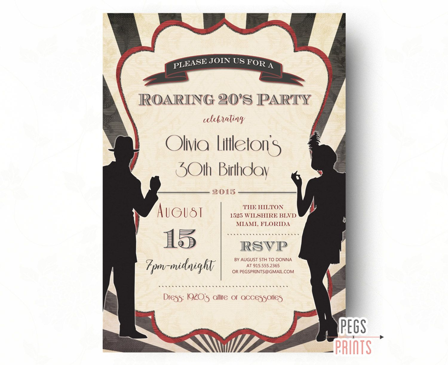 Printable Roaring 20s Invitation, Roaring 20s Birthday Invitation ...