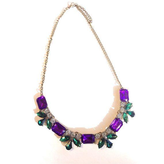 Crystal Bib Statement Necklace Purple & Green by SeasideJemsFL