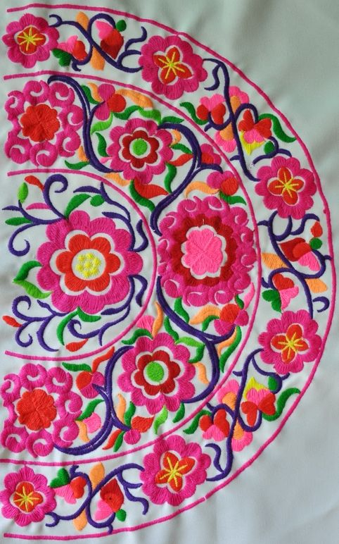 Pink floral miao embroidery only folk art pinterest
