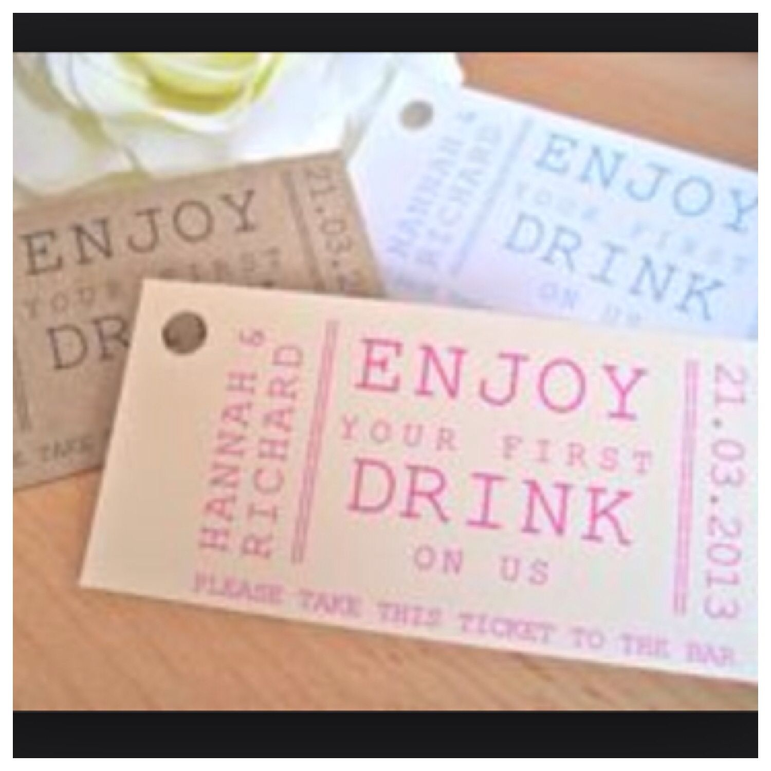 Free bar- drink tokens | Wedding | Pinterest | Bar drinks, Wedding ...
