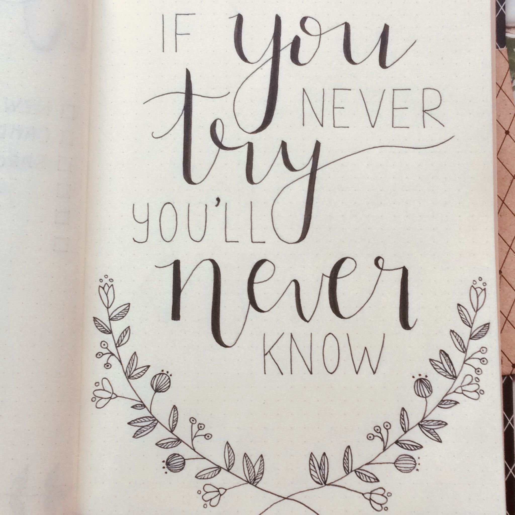 Gorgeous hand lettering idea for bullet journaling