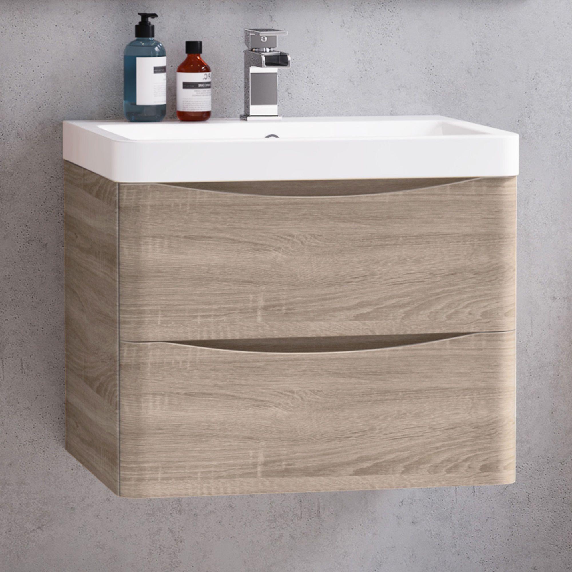 Oak Effect Built In Basin Drawer Unit