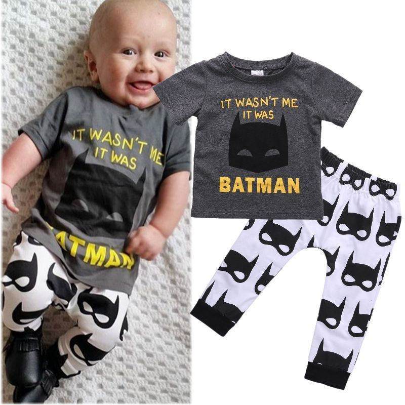 ab404f65a250 New Arrival High Quality Batman Baby Sets Newborn Baby Boys Short Sleeve T- shirt Tops Pants Outfits Clothes Set Hot Selling