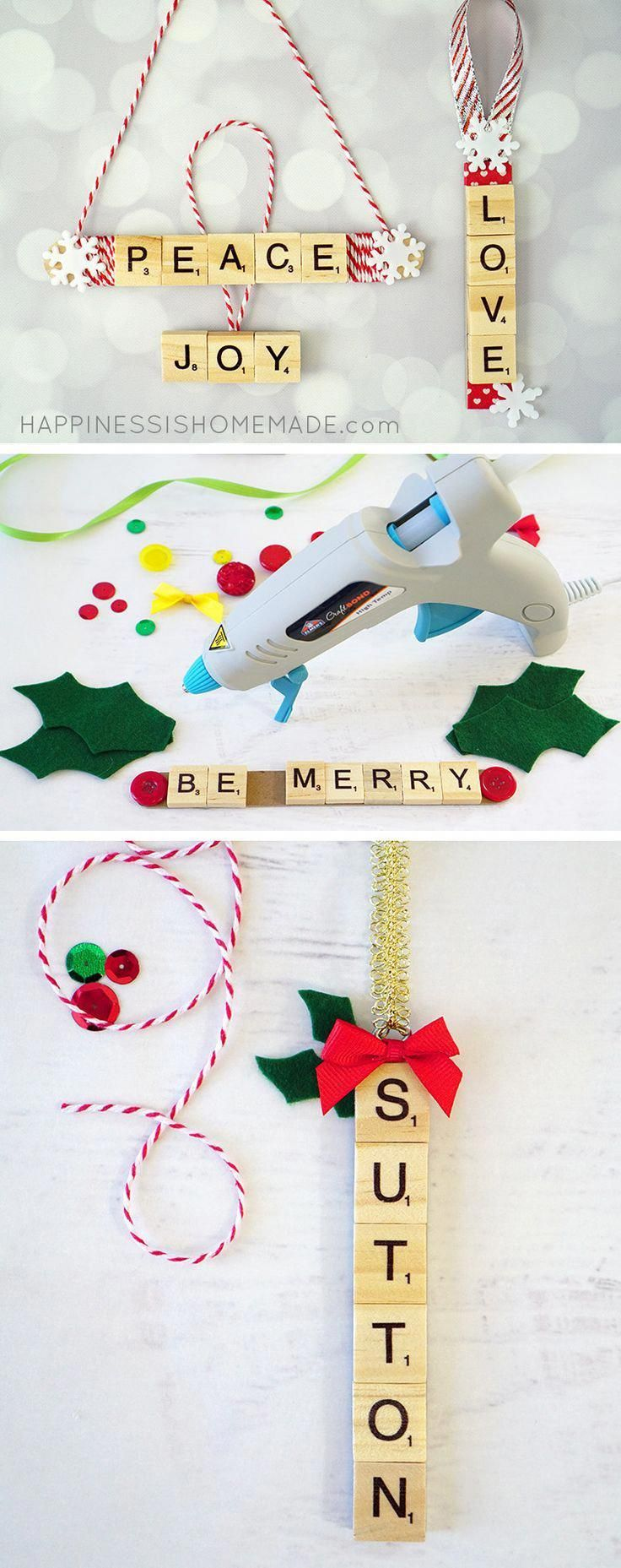 These Scrabble Tile Christmas Ornaments Are A Quick And Easy Holiday Craft And Christmas Gifts For Kids Scrabble Christmas Decorations Diy Christmas Ornaments