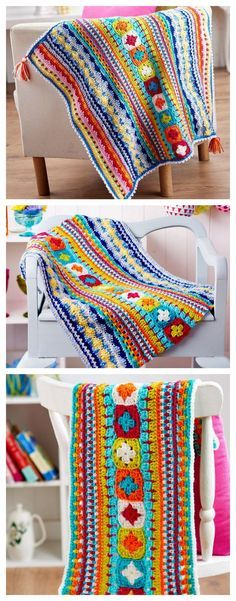 FREE PATTERN: 3-part Crochet Sampler Blanket ༺: | Motif | Pinterest ...