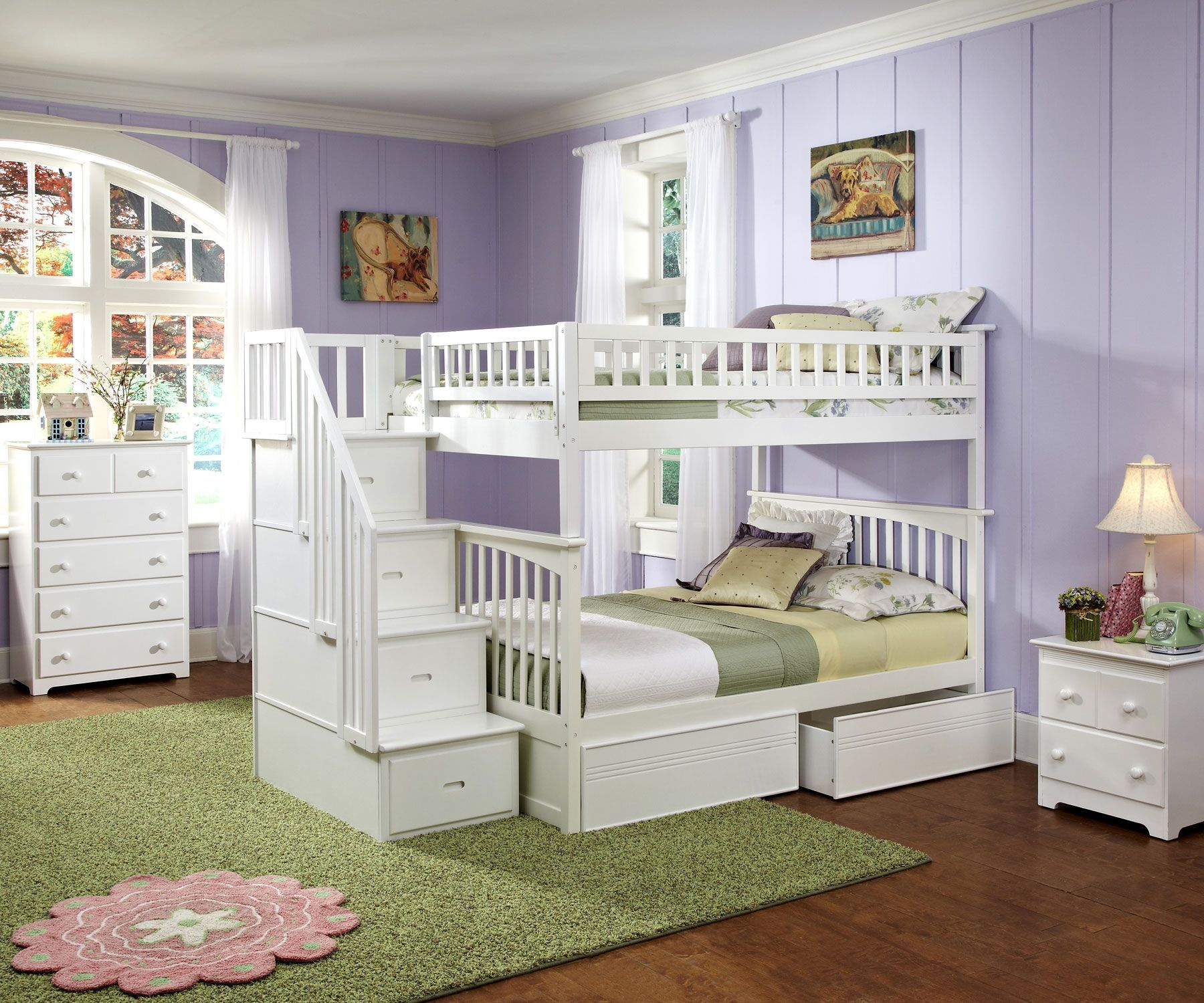White Staircase Bunk Bed