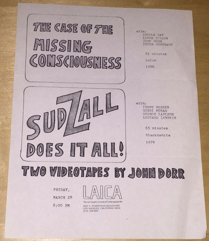 John Dorr Sudzall Ad Flyer  Los Angeles Institute Of