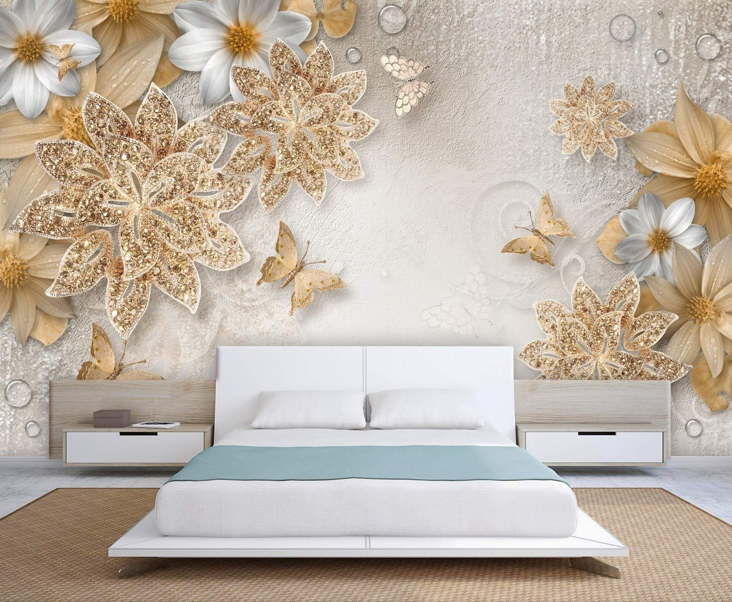 3d Golden White Flowers Wallpaper Beddingroom Study Tvbackground Hotels Bar Offices Wallpaper Decor Wallpaper Online Living Room Designs
