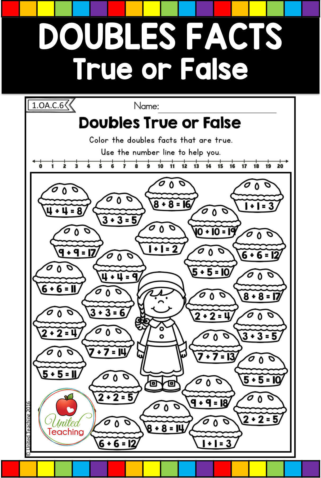 Thanksgiving Math and Literacy Activities (1st Grade) - United Teaching    Doubles facts [ 1806 x 1212 Pixel ]