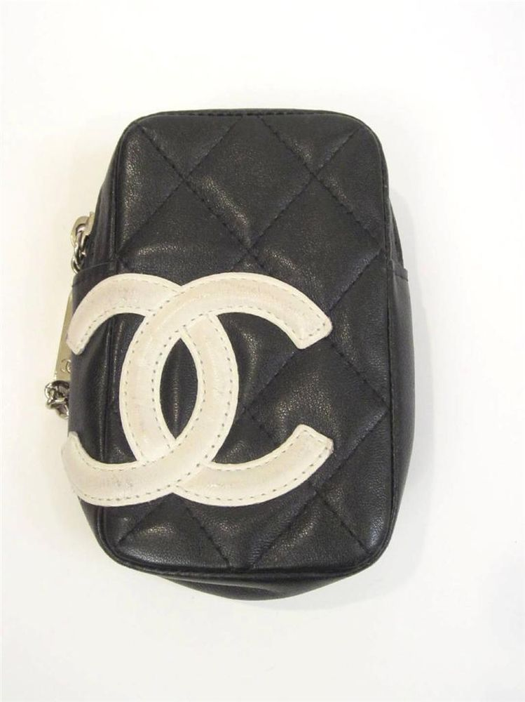 7fe1dad92238eb CHANEL BLACK & WHITE CC LOGO CAMBON QUILTED LEATHER CIGARETTE CASE OR BUM  BAG