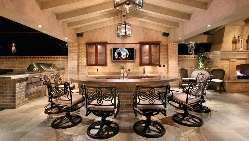 """Dining Ht Bar, again 36"""" sunken serving area   Beautiful ... on Living Spaces Outdoor Dining id=87476"""