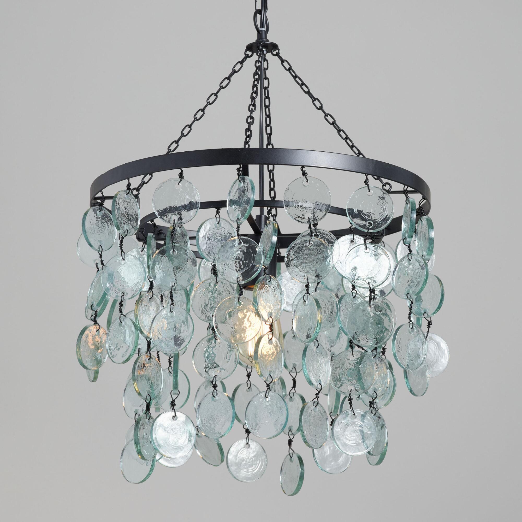 Aqua Draped Sea Glass Disc Pendant Lamp by World Market in ...