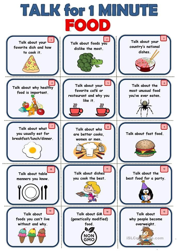 Food Speaking Cards With Images Learning English For Kids English Lessons For Kids Conversational English