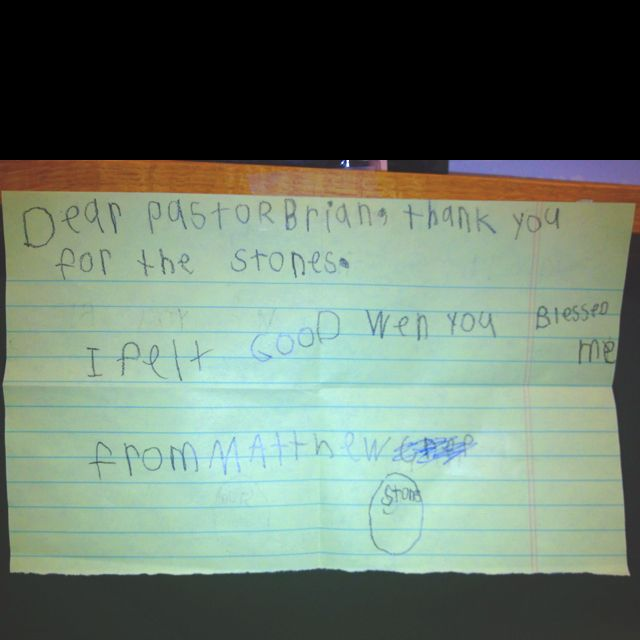 A thank you from a child blessed