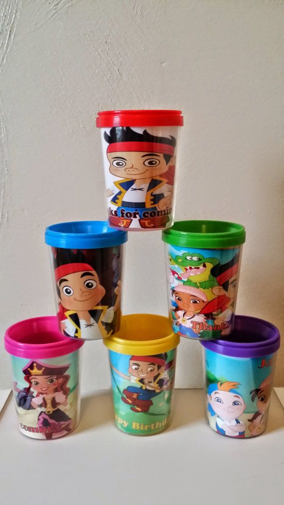 ReadyToShip Jake and the Neverland Pirates by PartyFavorCups, You can put treats inside of these or little toys to give inside your party favor bags. You can also drink from these cups as well. Personalize with your child's name and age or wording you prefer.