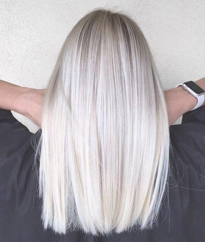 Graue Haarfarbe Grau Blonde Mittellange Glatte Haare