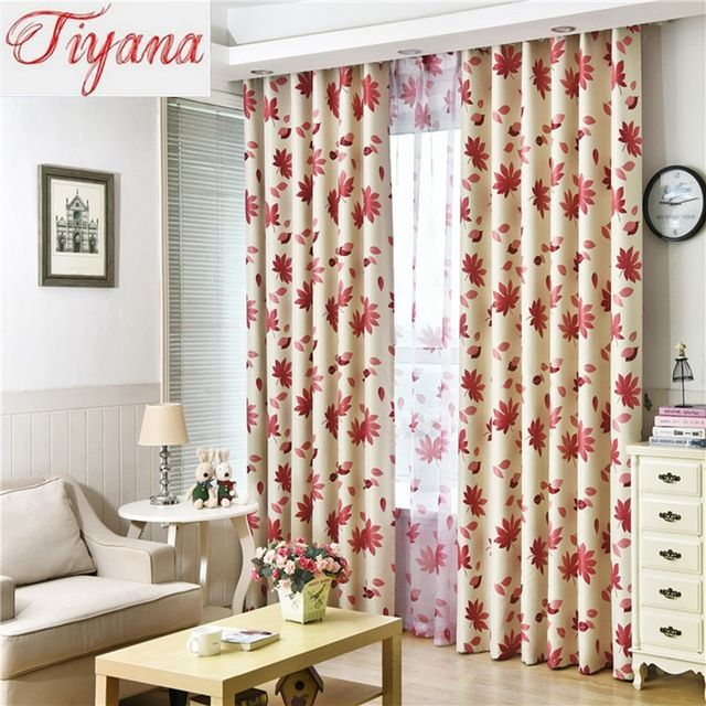 Pastoral Style Red Maple Leaf Window Screen Sheer Panels Balcony