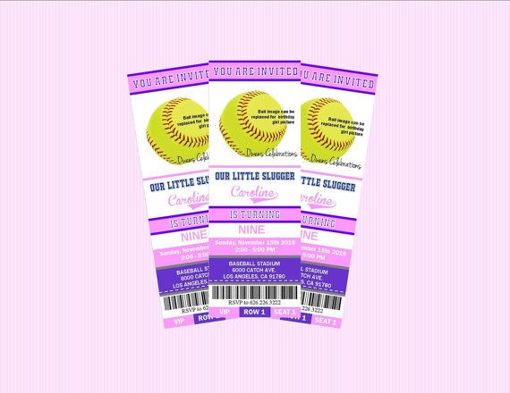 Softball Party Ticket Invitations Softball by OwensCelebrations - party ticket invitations