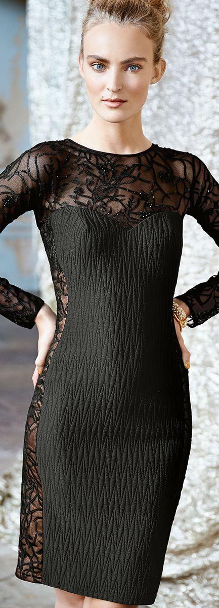 Tadashi Shoji ● Long Sleeve Lace Illusion Cocktail Dress