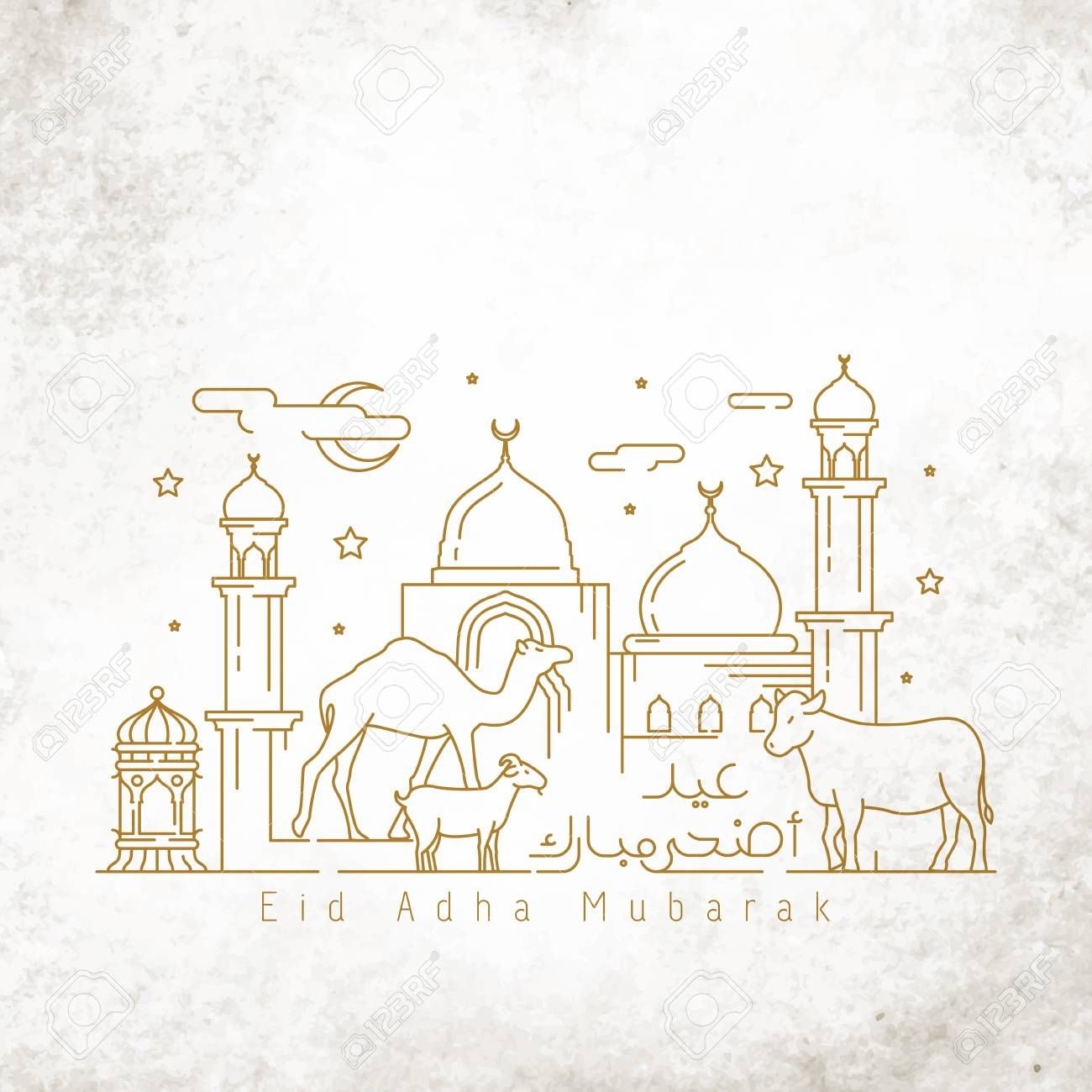 Islamic Greeting Happy Eid Adha Mubarak Greeting Card Template Monoline Illustration Arabic L Eid Card Template Greeting Card Template Card Templates Printable