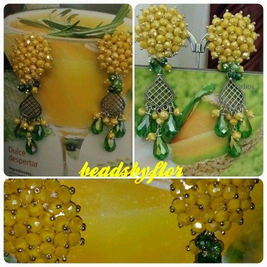 #aretes # amarillo # verde  #cristal