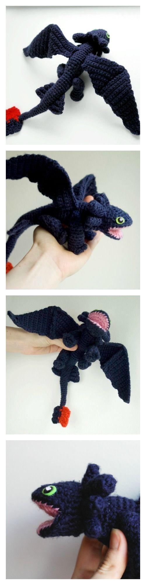 Dragon crochet pattern, Toothless amigurumi pattern, Night ...