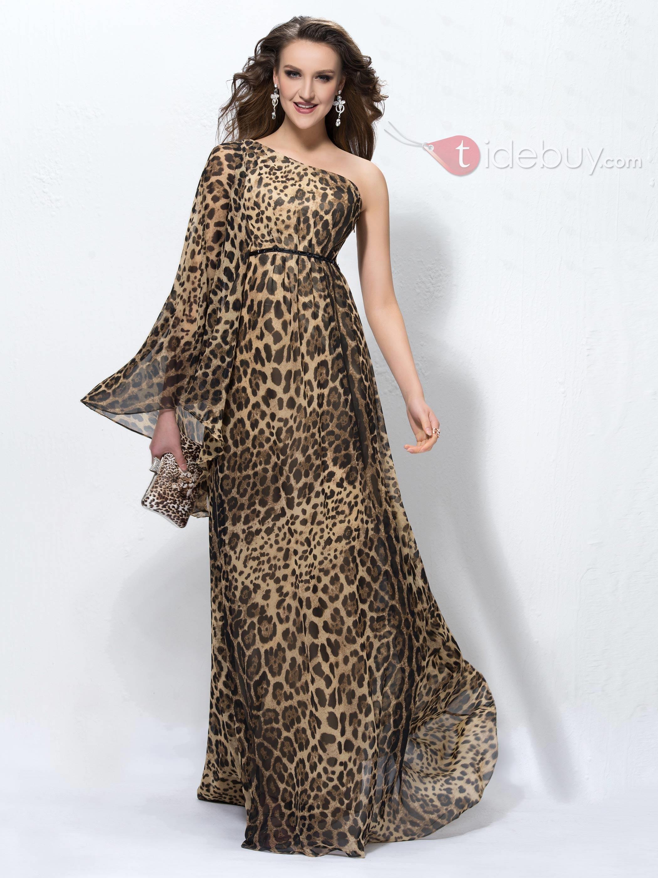 One Shoulder Long Sleeve Leopard Print Evening Dress Evening Dresses Animal Print Dresses Evening Dress Floor Length [ 2800 x 2100 Pixel ]
