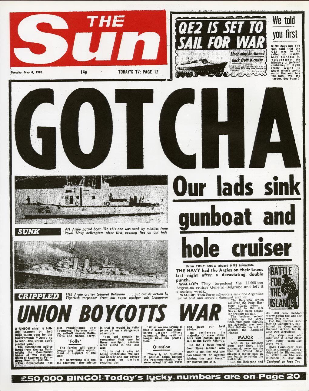 The Falklands War (1982) Falklands war, Newspaper front