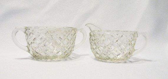 Pressed Glass Diamond Cut sugar and creamer by RoseArborVintage, $12.00