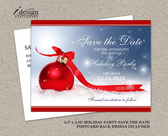 ae3d671d20c3 A festive Christmas or holiday party save the date card by  iDesignStationery on Etsy - $4.95 #ChristmasInvitation  #HolidayPartySaveTheDate #Etsy