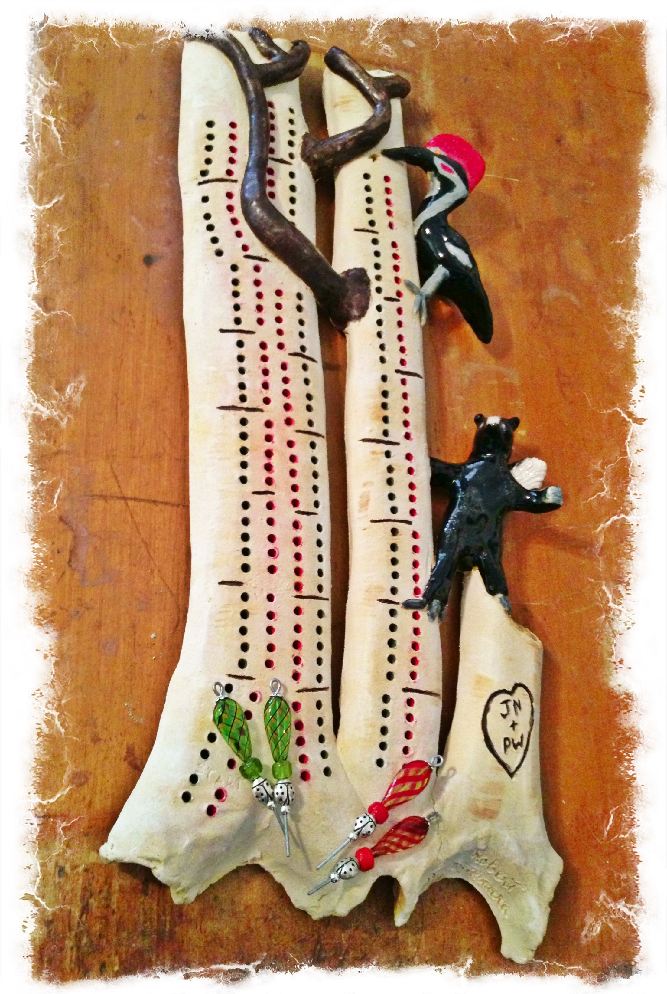 Crib boards for sale uk - Birch Tree Cribbage Board With Piliated Woodpecker Skunk Standing On The Skunk Line