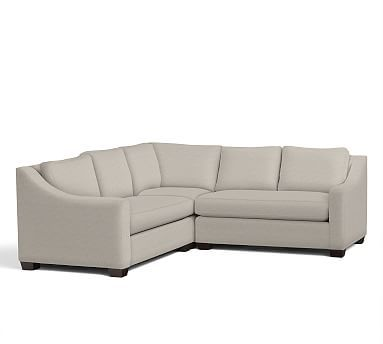 York Slope Arm Upholstered 3-Piece L-Shaped Corner Sectional, Down Blend Wrapped Cushions, Performance Chunky Basketweave Oatmeal
