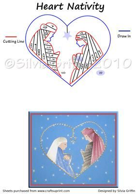 Heart Nativity on Craftsuprint designed by Silvia Griffin - A different variation of an old favorite. Hope you enjoy it. If you don't believe, you won't receive! - Now available for download!