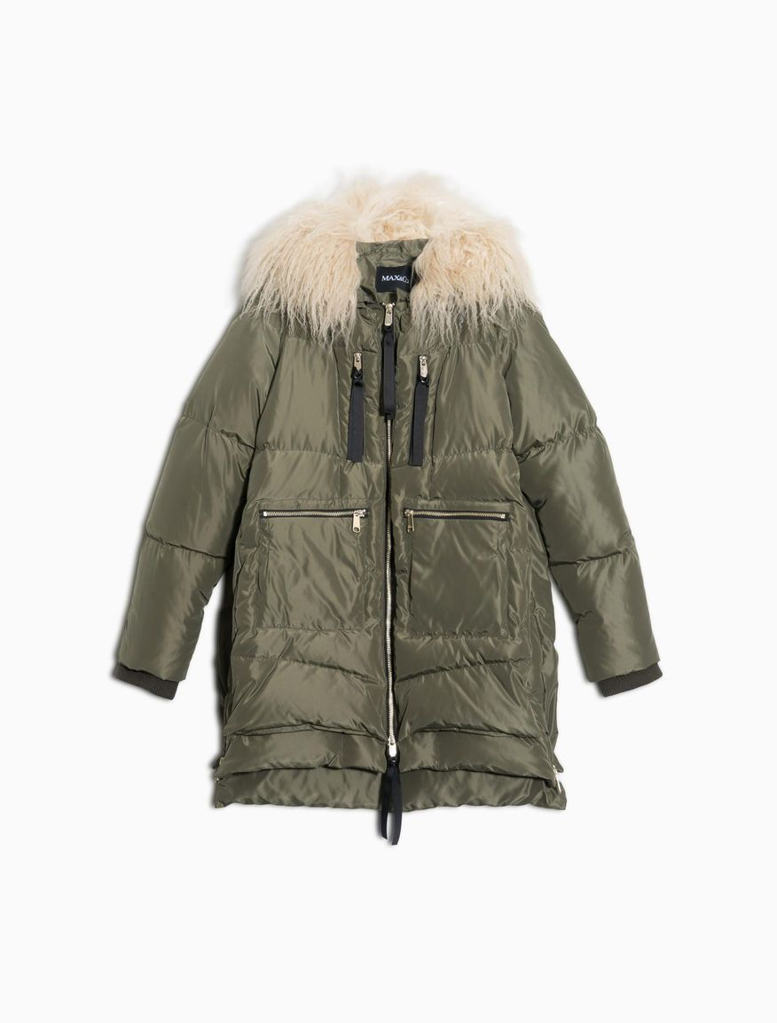 MAX&Co. - Multi-zip down jacket with overlay, Khaki Green - Down ...