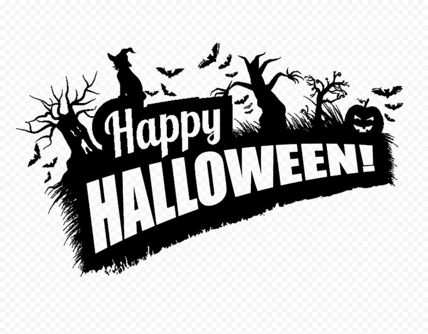 Black Happy Halloween Logo Witch Trees Pumpkins Halloween Logo Happy Halloween Witch