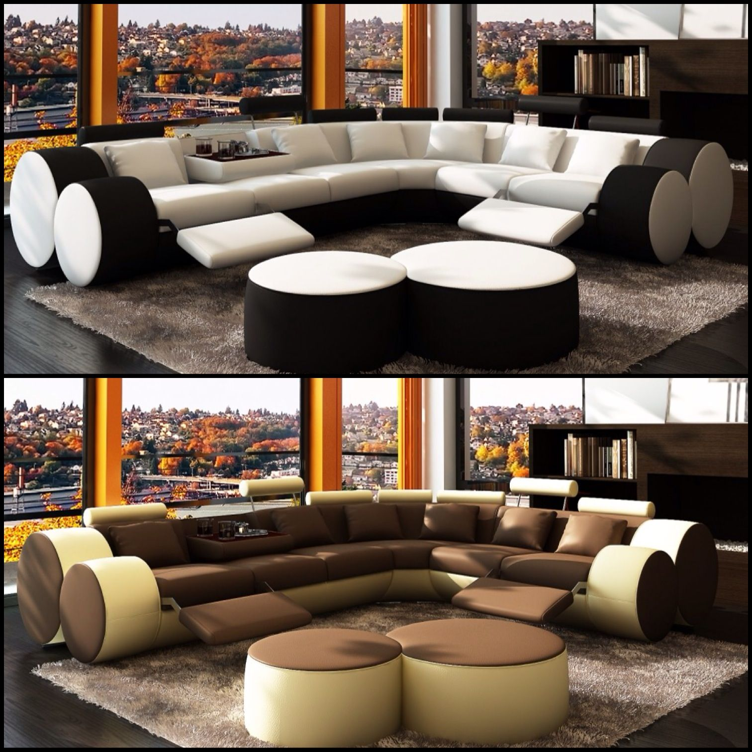 Modern contemporary sectional sofa es with unique adjustable log