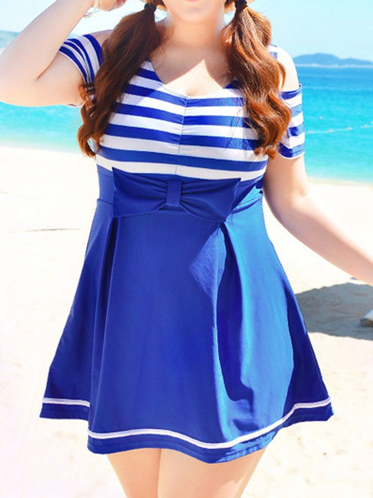 d52f06206f3b0 Plus Size Stripe Bowknot Beauty Back Wireless Hollow Out One Piece  Swimdresses