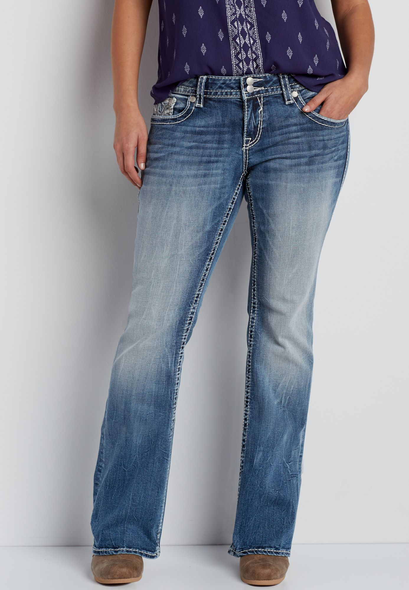 986a6d84a41 Vigoss ® plus size medium wash bootcut jeans with veining (original price
