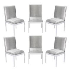 Set Of Six Dining Chairs In Polished Chrome By Milo Baughman