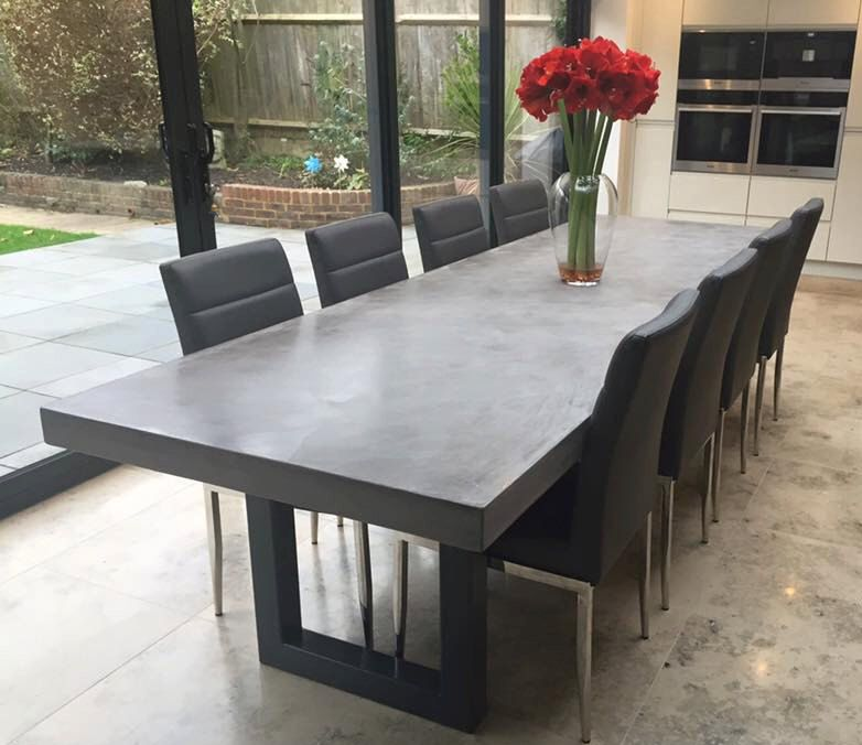 Polished Concrete Dining Table Bespoke Handmade In The Uk By