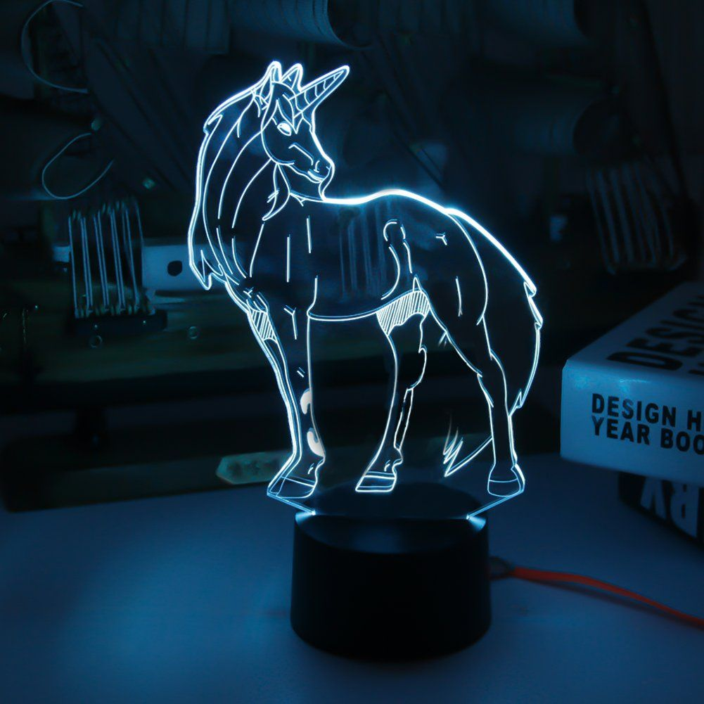 Unicorn Model 3d Illusion Night Lights Touch Led Lamp Kids Bedroom Decor Rainbow Horse Lights Kids Bedroom Decor Led Night Light 3d Illusion Lamp