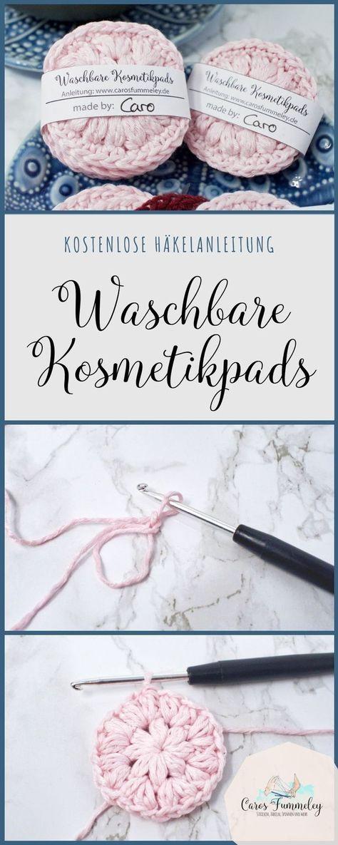 Kosmetikpads häkeln - Kostenlose Anleitung und Banderole zum Drucken #flowerfabric