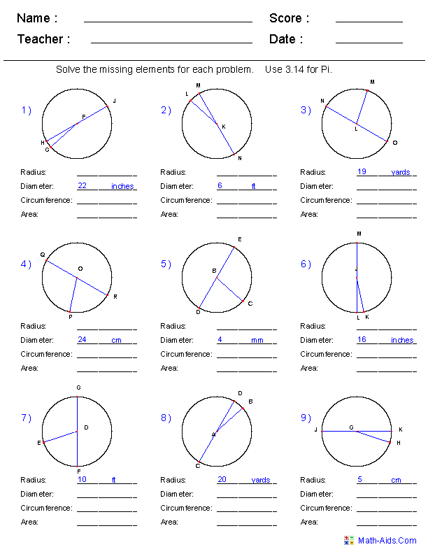 Circumference, Area, Radius and Diameter Worksheets | Math-Aids.Com ...