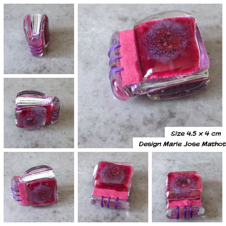 Glass covered minibook, with fake pink leather